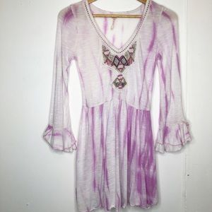 Free People tie dye beaded tunic top